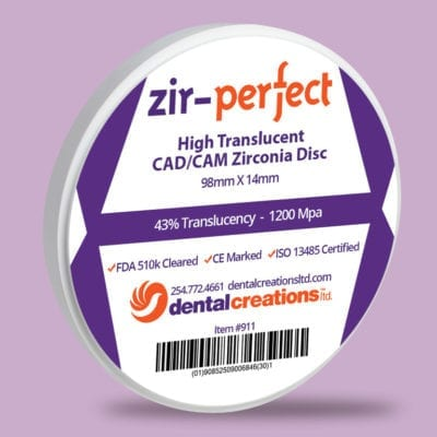 Dental Creations Ltd Zir Perfect Zirconia Disc Product